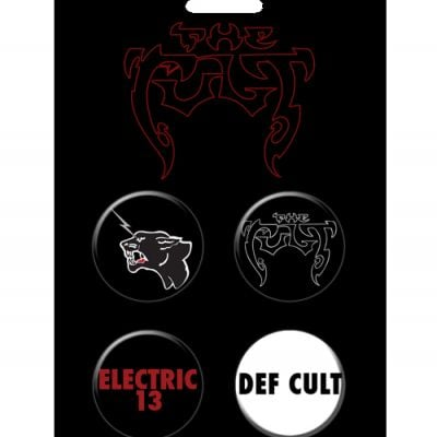 The Cult Electric 13 4 Button Pin Set
