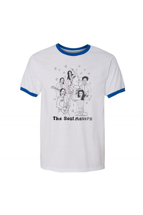 Happy Band White/Blue Ringer Tee by The Soul Movers