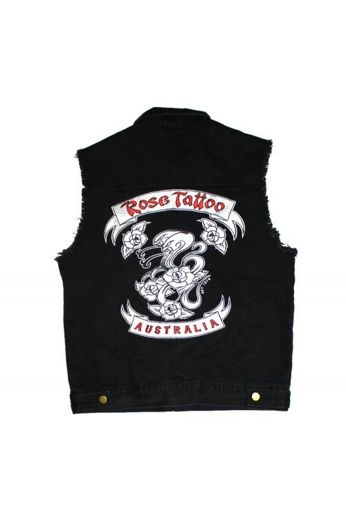 Black Denim Cutoff Embroided Vest (Limited) by Rose Tattoo