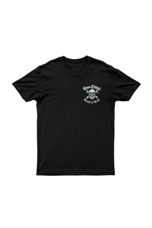 Pocket Skull Rocker/Snakes on Back Black Tshirt by Rose Tattoo