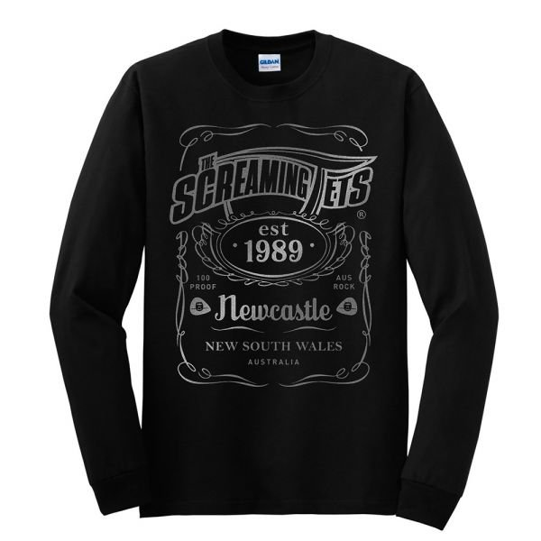 New Metallic Silver Print JD Longsleeve Black Tshirt