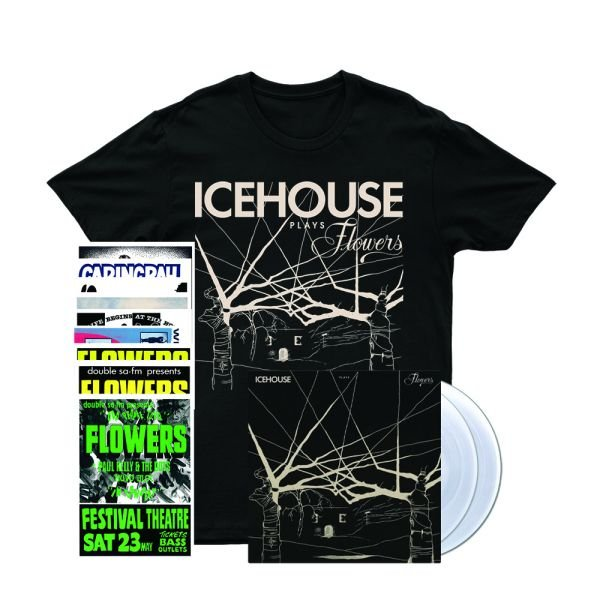 Icehouse Plays Flowers LP (Clear Vinyl)/ Tshirt/ Poster Set Bundle