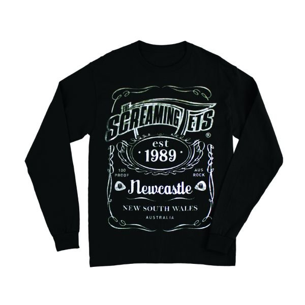 New Metallic Silver Print JD Longsleeve Black Mens Tshirt