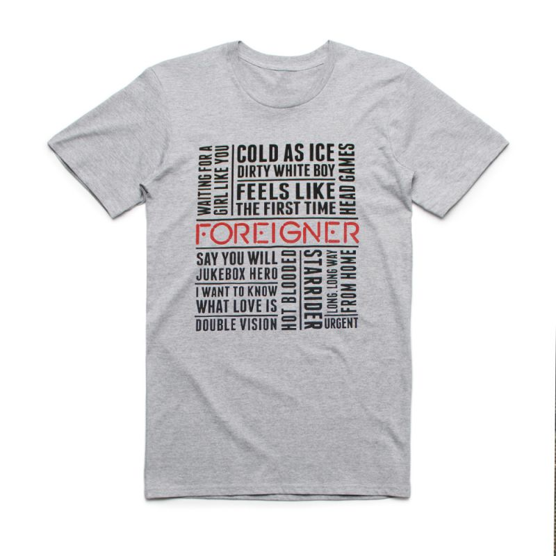 Songs Name Text Grey Marle Tshirt