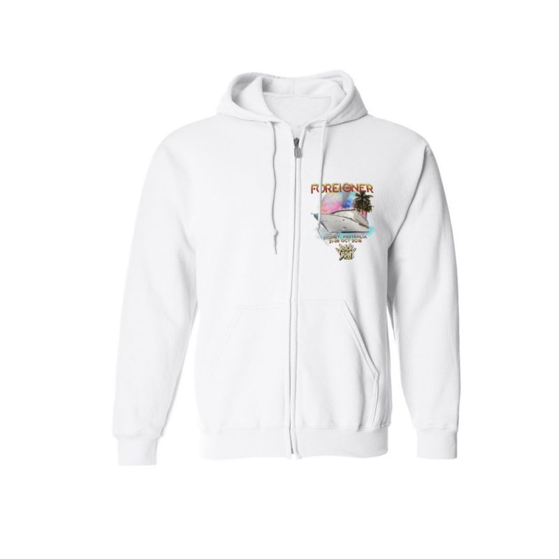Rock The Boat Juke Box Hero White Zip Hoody