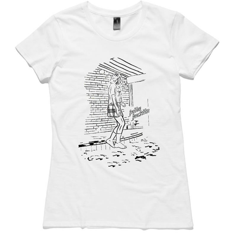 Black Drawing and Text White Ladies Tshirt